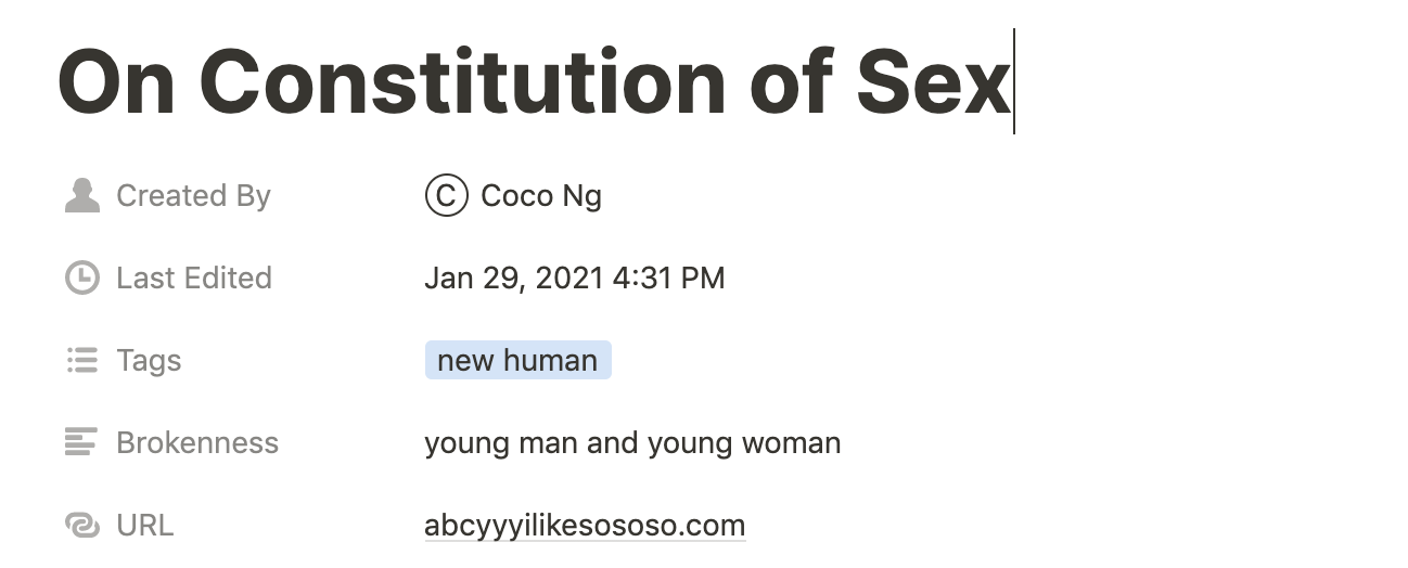 On Constitution of Sex